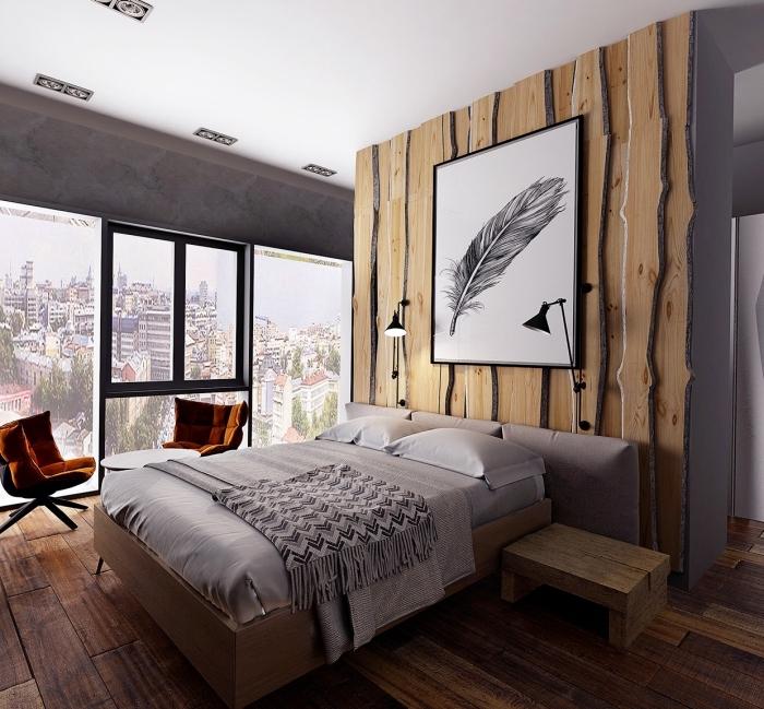 aménagement petite chambre moderne en gris et bois, idée décoration murale bois originale avec accents en gris foncé