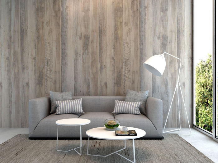 idée décoration murale de salon moderne avec lambris bois large de nuances de gris, modèle canapé de salon contemporain en gris clair