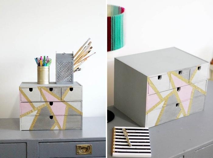 comment personnaliser un rangement bureau en bois avec peinture, idée activité manuelle facile et rapide pour bureau