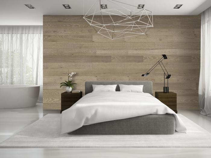 design intérieur moderne de style minimaliste dans une pièce blanc et gris avec accents en bois, idée décoration murale bois