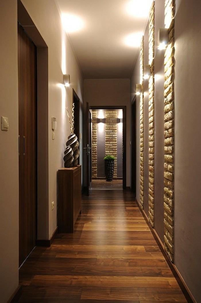 Idée déco couloir étroit, couleur peinture pour couloir étroit, simple idée aux couleurs naturelles chaudes