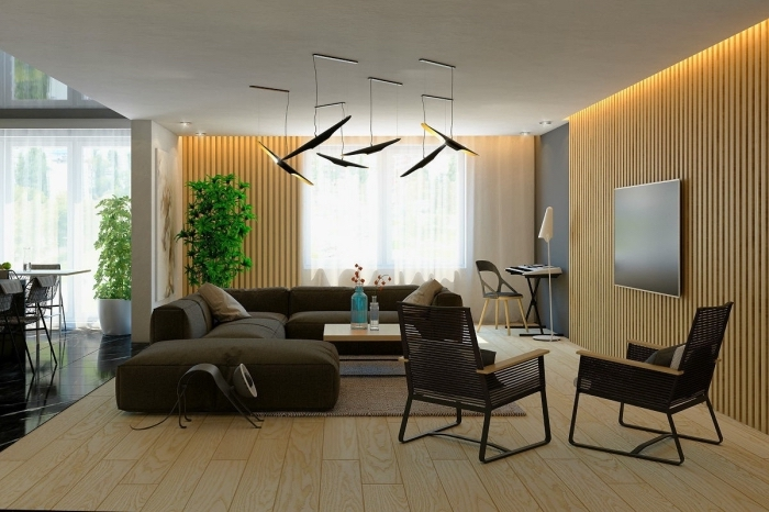 design intérieur moderne dans un salon bois avec pan de mur en peinture gris clair, modèle de panneau mural décoratif intérieur