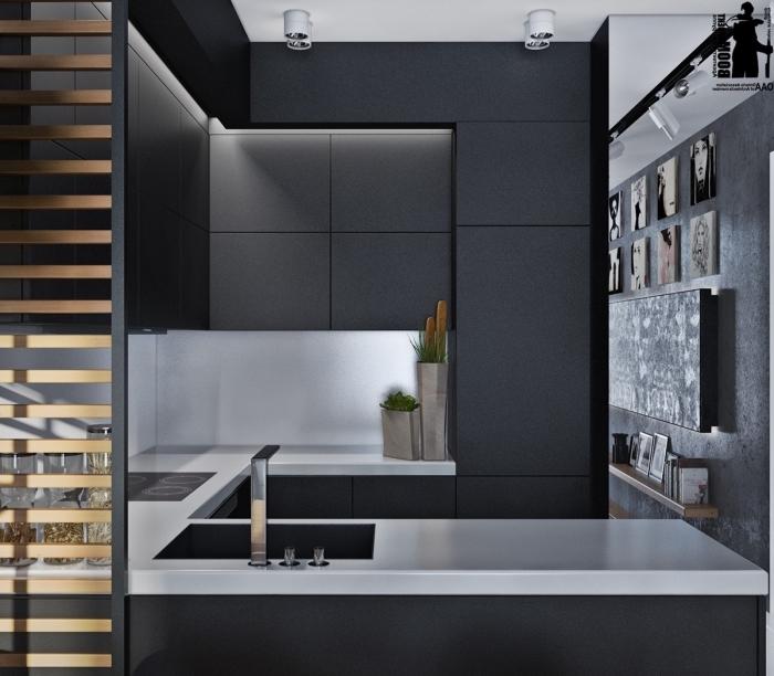 aménagement petite cuisine contemporaine en u, idée décoration cuisine blanche et noire avec meubles noir mat sans poignées