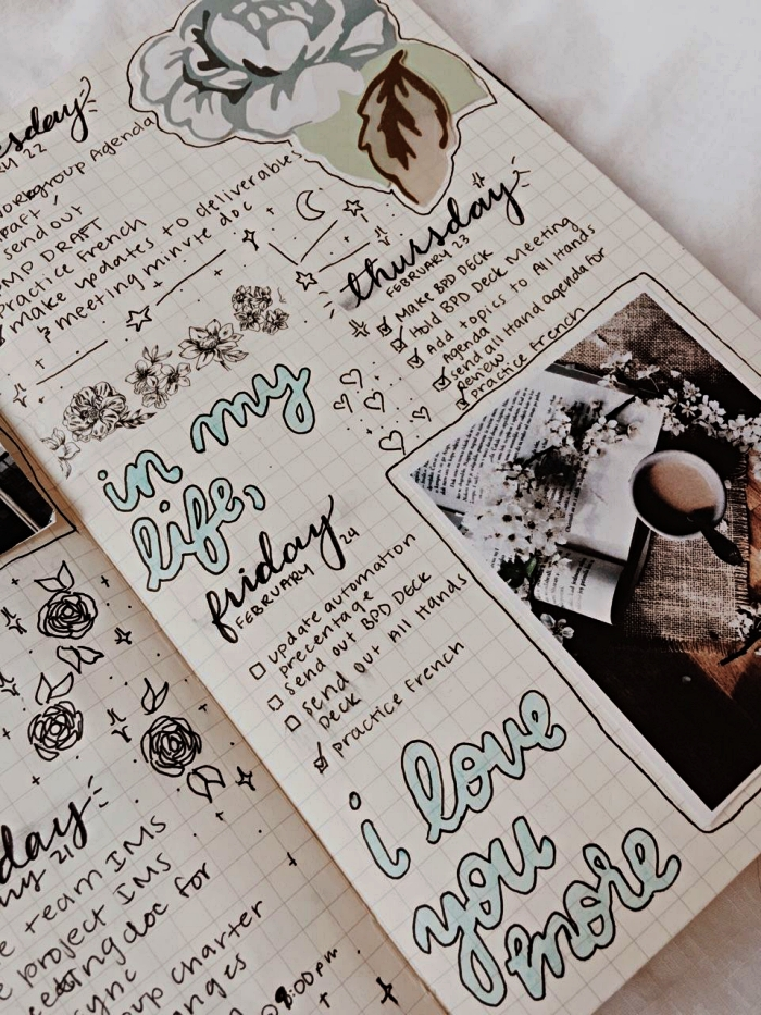 deco bullet journal personnalisé avec stickers, lettrage réalisé à la main et des illustrations découpées collées sur les pages