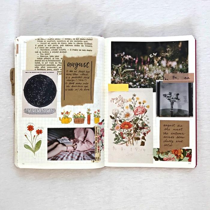 une page double d'un cahier bullet journal consacrée à la créativité, idées pour personnaliser son bullet journal avec des illustrations découpées et des citations inspirantes