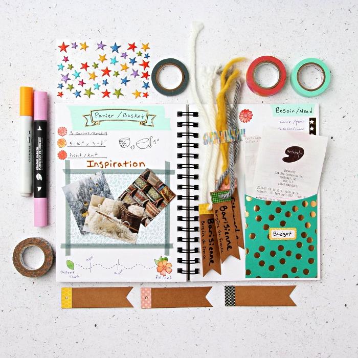 exemple de mise en page créative dans un bullet journal inspiré du scrapbooking, deco bullet journal avec pochette et illustrations découpées