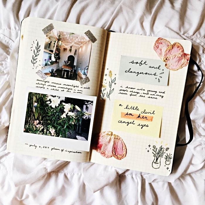 deco bullet journal de post-it, fleurs séchées, petits dessins et des photos, idée de mise en page créative
