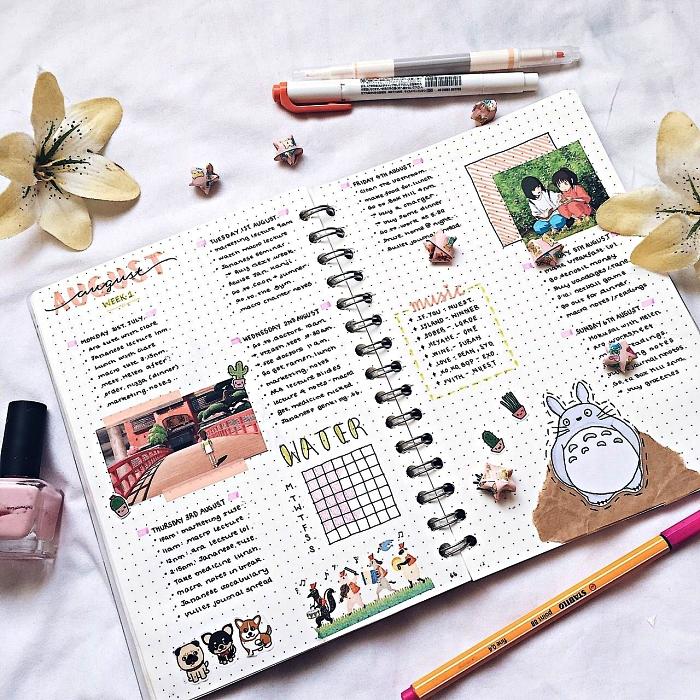 cahier bullet journal pointillé avec un aperçu du mois, décoration de bullet journal avec stickers et illustrations découpées