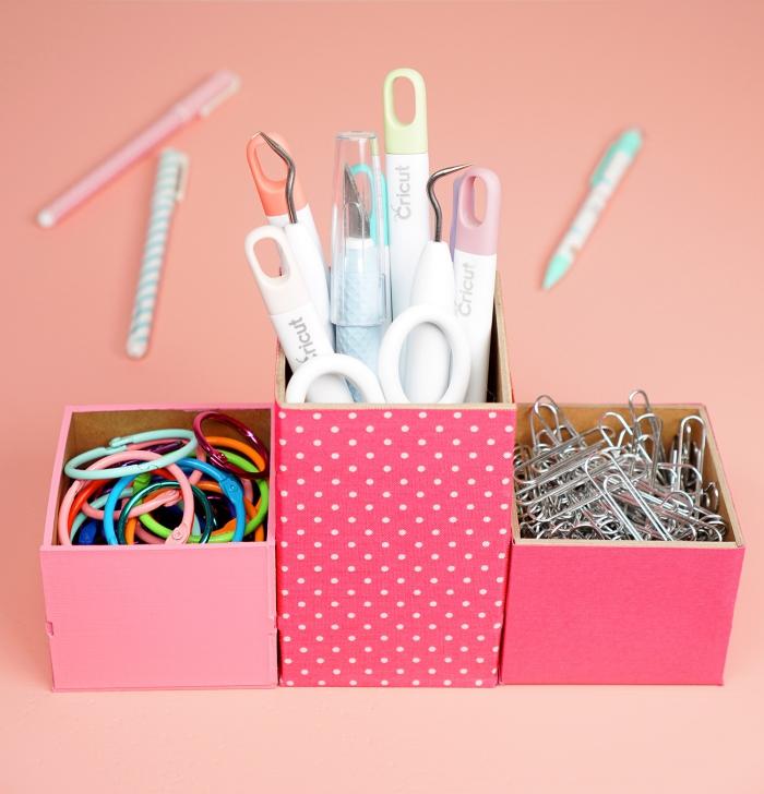 comment faire un pot à crayons en trois sections, exemple rangement de bureau avec objets à faire soi-même