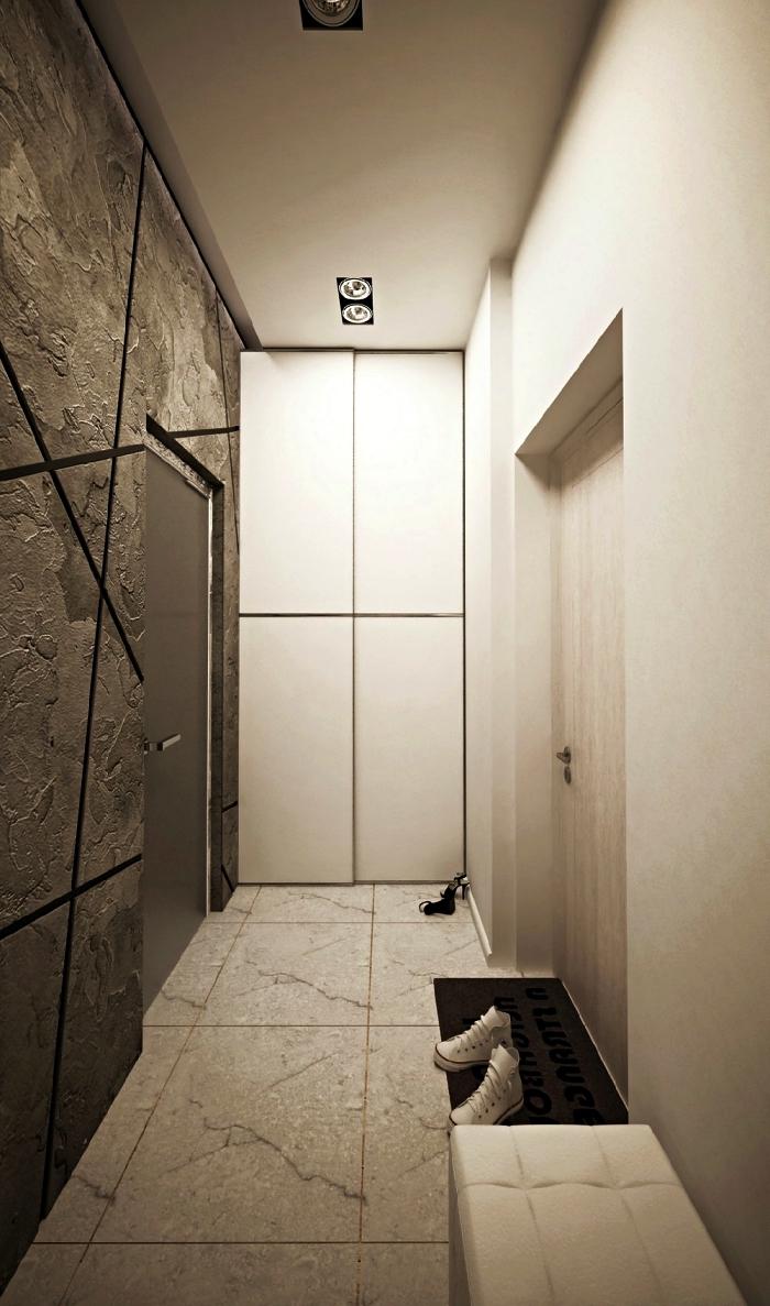 couloir d'entrée long et étroit au mur d'accent imitation pierre