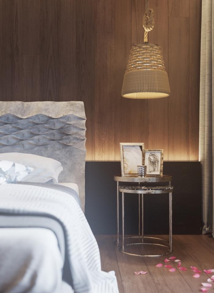 design chambre adulte moderne avec finitions métal et accents en bois, idée panneau mural décoratif intérieur