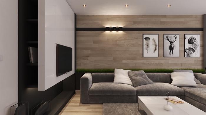 idée comment aménager un salon en blanc et gris avec accents en noir mate et bois, exemple lambris mural bois clair