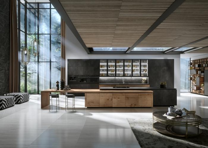 aménagement cuisine spacieuse ouverte de style contemporain, décoration cuisine gris anthracite et bois avec plancher bois blanc