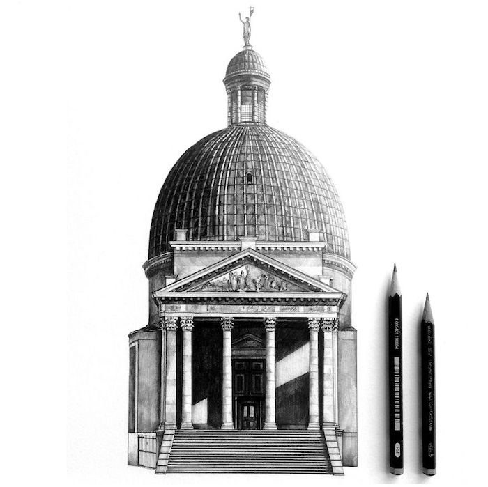 Architecture dessin professionnel, batiment et tout ses details en noir et blanc, dessin architectural, dessin au crayon hyper réaliste