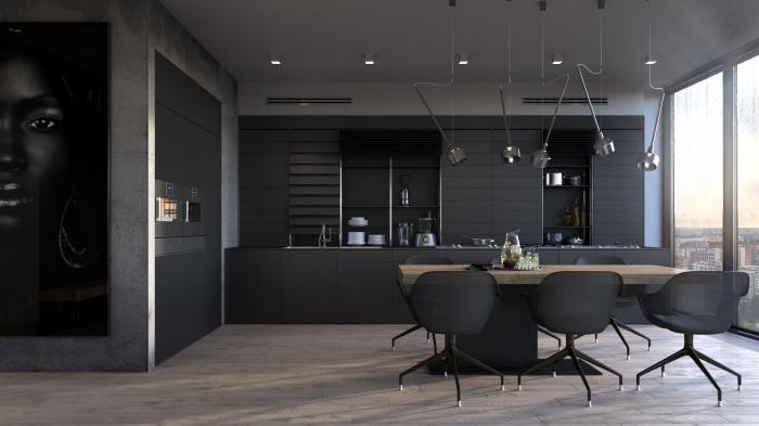 modèle de cuisine gris anthracite et bois avec meubles noir mat, décoration cuisine linéaire de style moderne