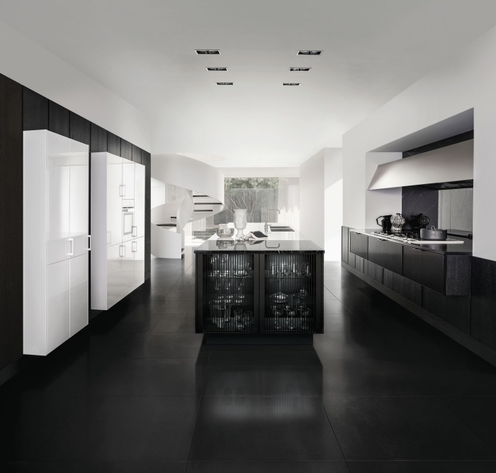modèle de cuisine blanc laqué avec meubles et plancher en noir mat, agencement cuisine en parallèle avec îlot
