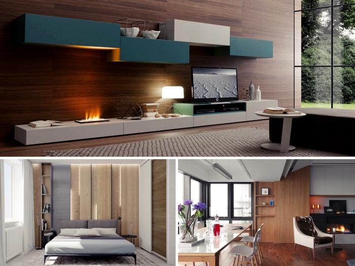 exemple de décoration murale avec lambris mural, habiller les murs en planches de bois foncé, salon moderne en bois foncé