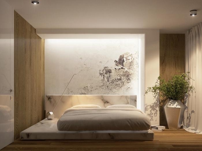 chambre adulte contemporaine aux murs en bois clair, idée revetement mural bois pour chambre à coucher relax