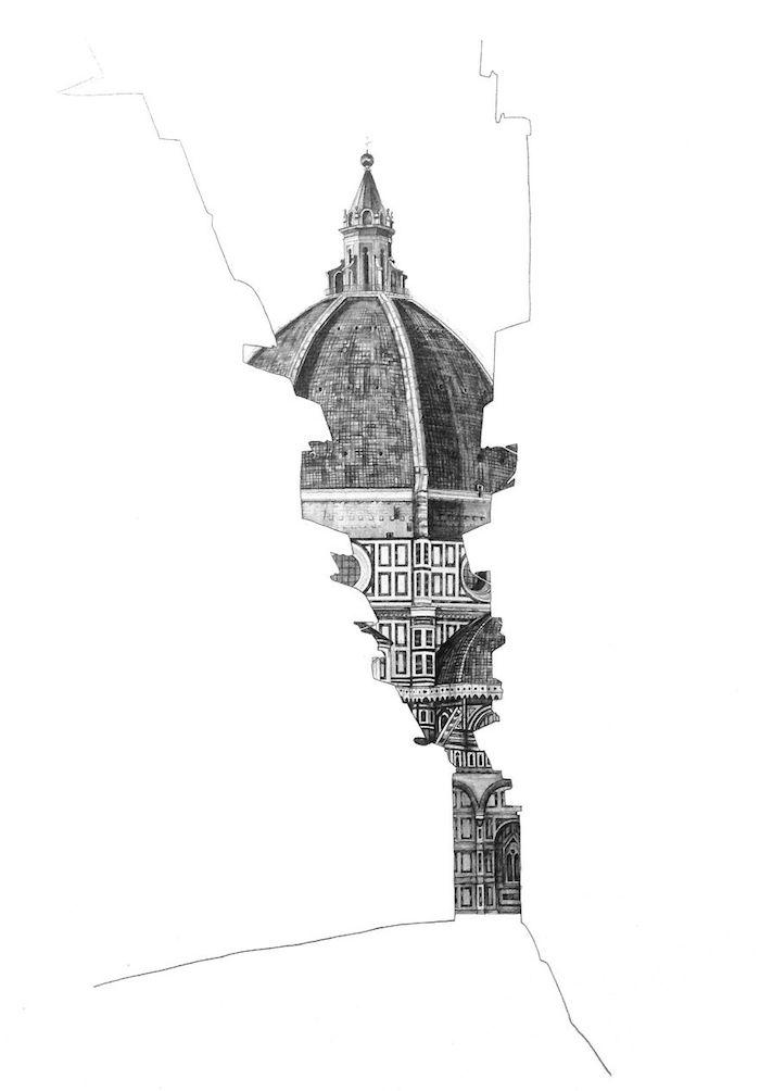 Florence cathédrale art dessin réaliste, dessin au crayon, illustration de la beauté architecturale d'Italie