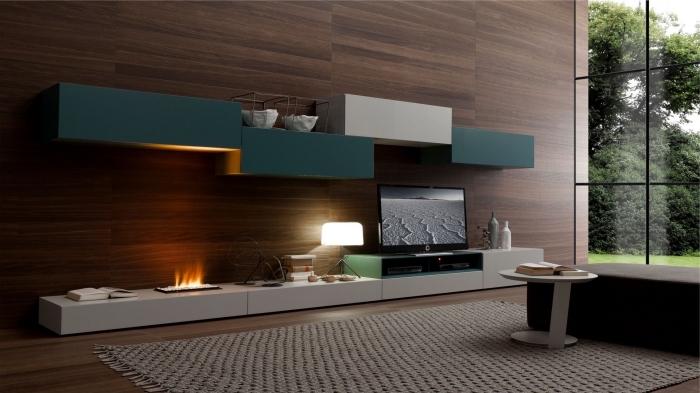 aménagement salon contemporain avec plancher bois foncé et panneau mural décoratif intérieur en bois foncé