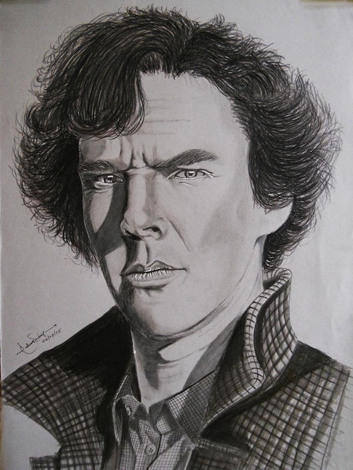 dessin portrait homme, benedict cumberbatch dessin au crayon, respecter les perspectives et les claire obscures