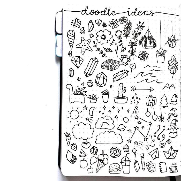 idées créatives pour réaliser un dessin bullet journal, customiser son bullet journal avec de petits dessins mignosn