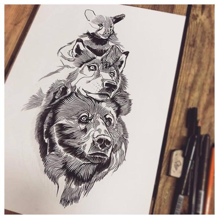 dessin animal original a faire soi meme, tetes d ours, loup et ourson superposées sur un bout de feuille vierge