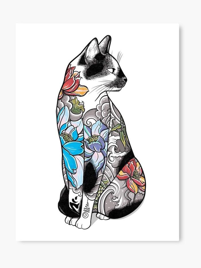 Chat tatoué de fleurs dessin original, idée de tatouage fleur de lotus, magnifique tatouage fleur