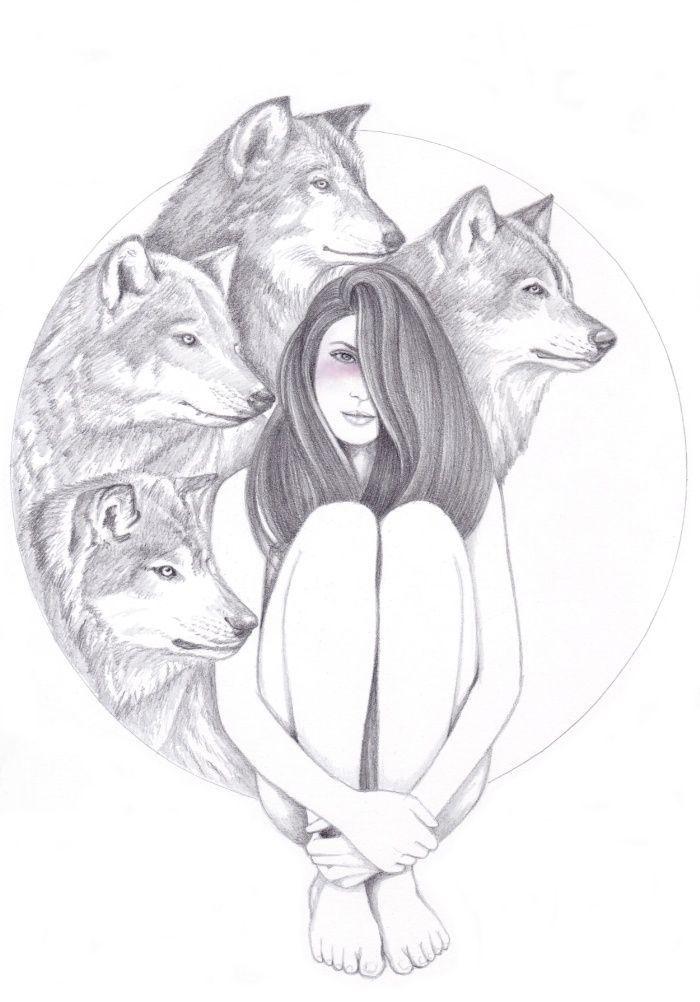 comment dessiner une fille, dessin original de fille avec des tetes de loup autour en auréole