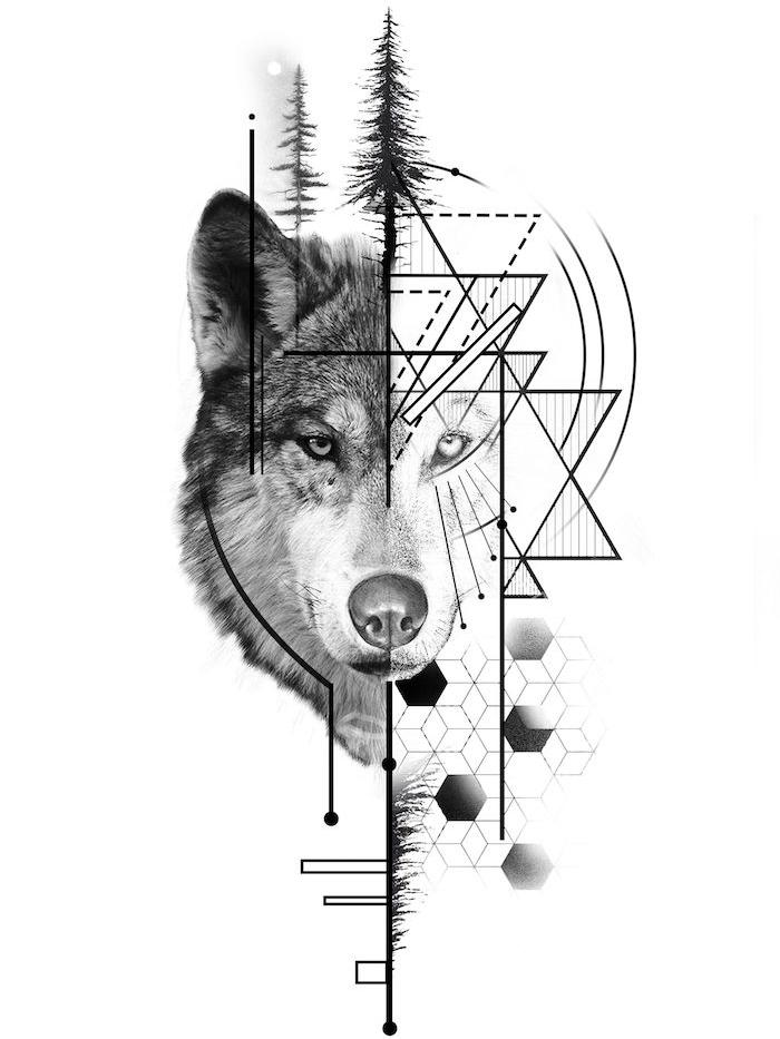 idée de dessin demi loup demi géométrique avec des sapins en top, idée de tatouage loup