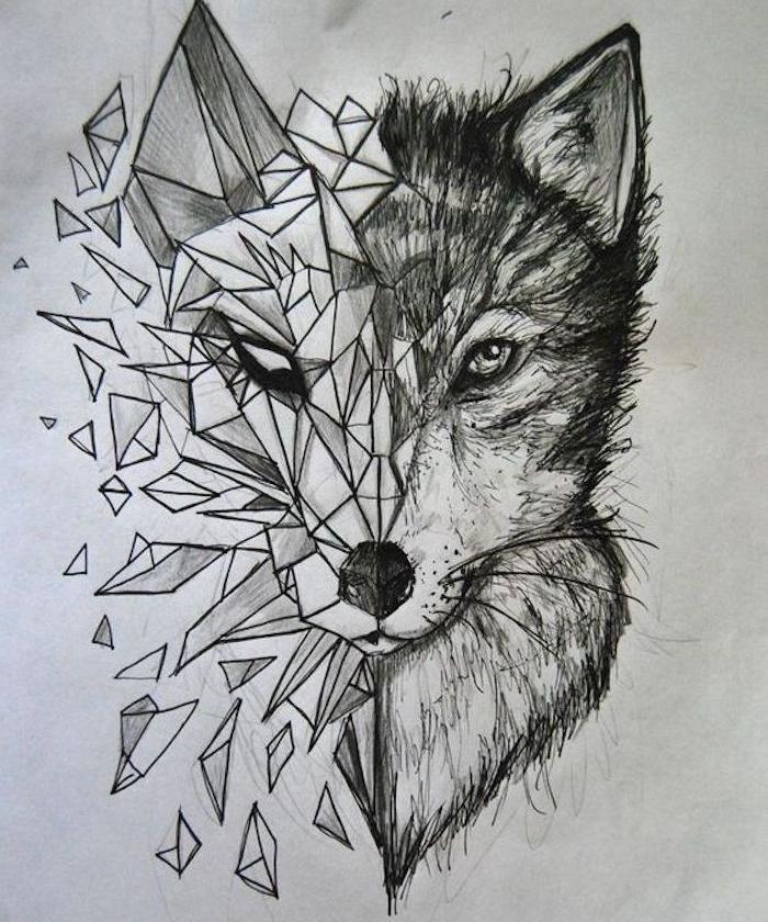 exemple de dessin facile a dessiner, demi tete de louve, demi tete geometrique, dessin noir et blanc original