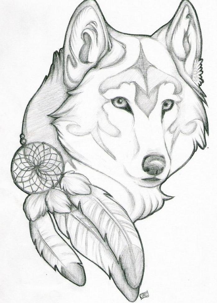 realiser un dessin loup tribal de tête d animal et un attrape rêve en bas, idée symbole amérindien, desssin tatouage loup