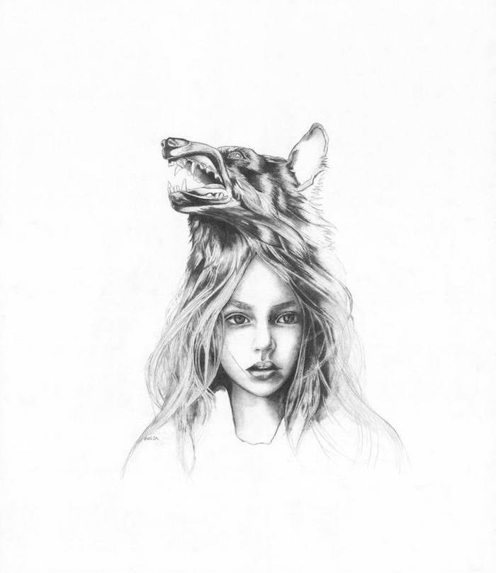dessin détaillé et réaliste de tête de fille aux cheveux rebelles avec un chapeau tête de loup sur la tete