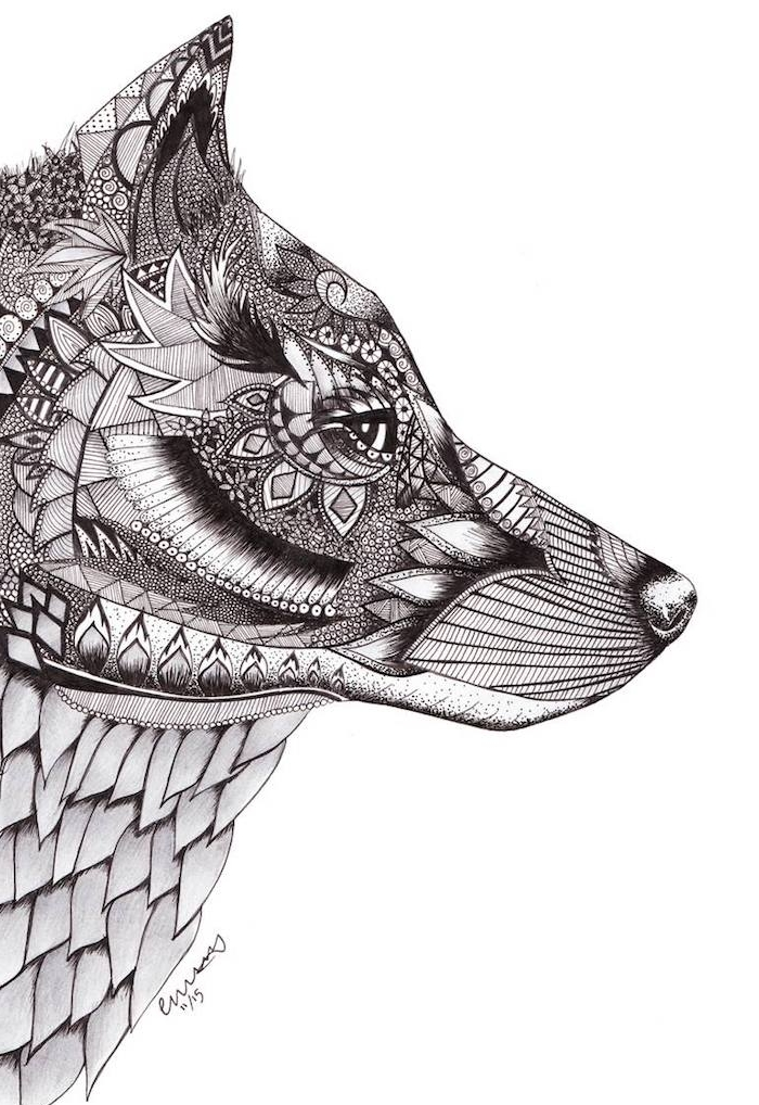 dessin mandala, petits détails floraux et géométriques dessinés sur la tête d un loup, idée mandala à imprimer