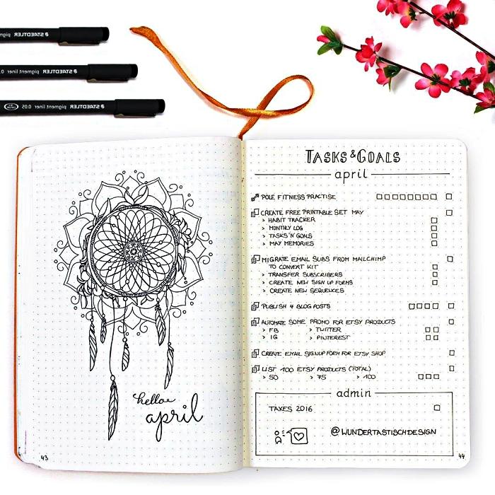 dessin bullet journal mandala à côté du planning mensuel, listes des tâches pour le mois avec des cases à cocher