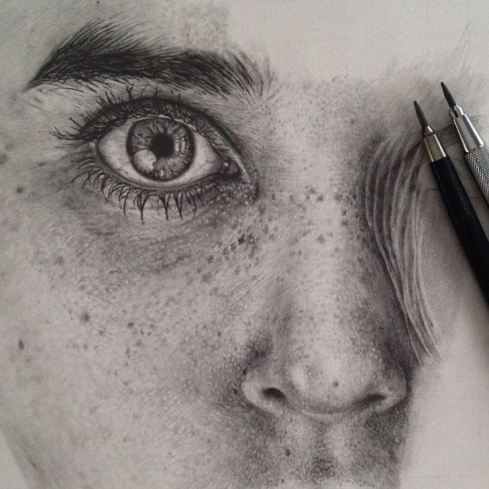 Noir et blanc dessin étapes, dessiner un visage réaliste, dessin au crayon, dessiner des yeux de femme
