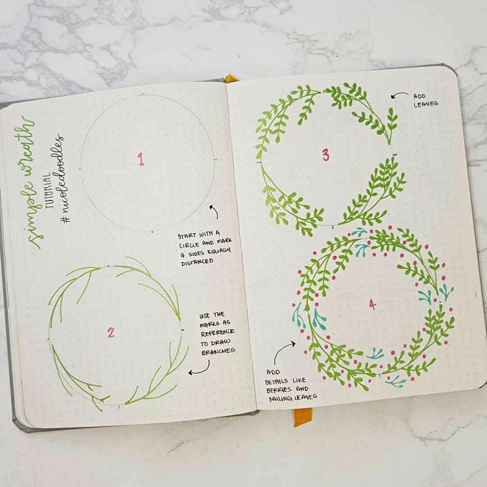 idée de décoration personnalisée pour bullet journal tuto dessin de couronne végétale facile, comment dessiner une couronne de fleur facile