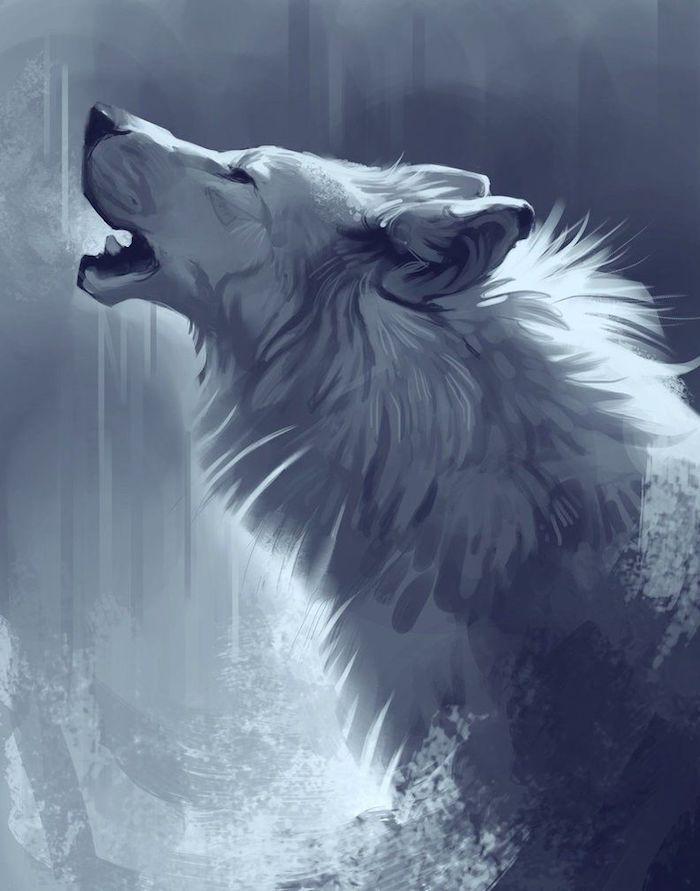 loup polaire, symbole de la force et de la férocité, idée de dessin réaliste effet 3d très détaillé