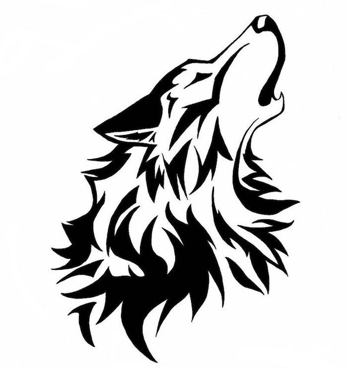 exemple de dessin tatouage animal de loup, un loup graphique à grosse crinière qui hurle