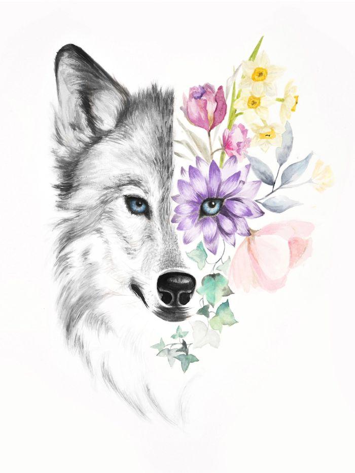 demi face de loup et demi face fleurie, dessiner des fleurs facilement, idée de dessin original, tete de loup dessin artistique