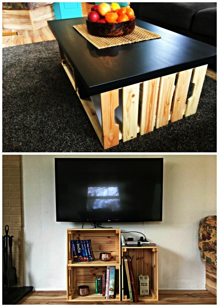 idées de detournement meuble ikea, fabriquer une table basse ou un meuble tv avec des caisses en pin knagglig