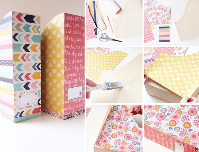 exemple comment faire un classeur papier en carton, technique décoration rangement papier avec feuilles colorées