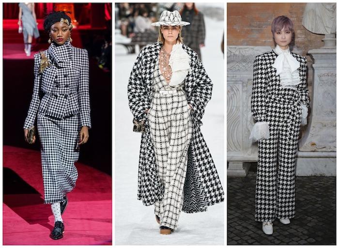 Tenue pied de poule, tenue tendance automne-hiver 2019-2020, vêtements pied de poule noir et blanc tailleur