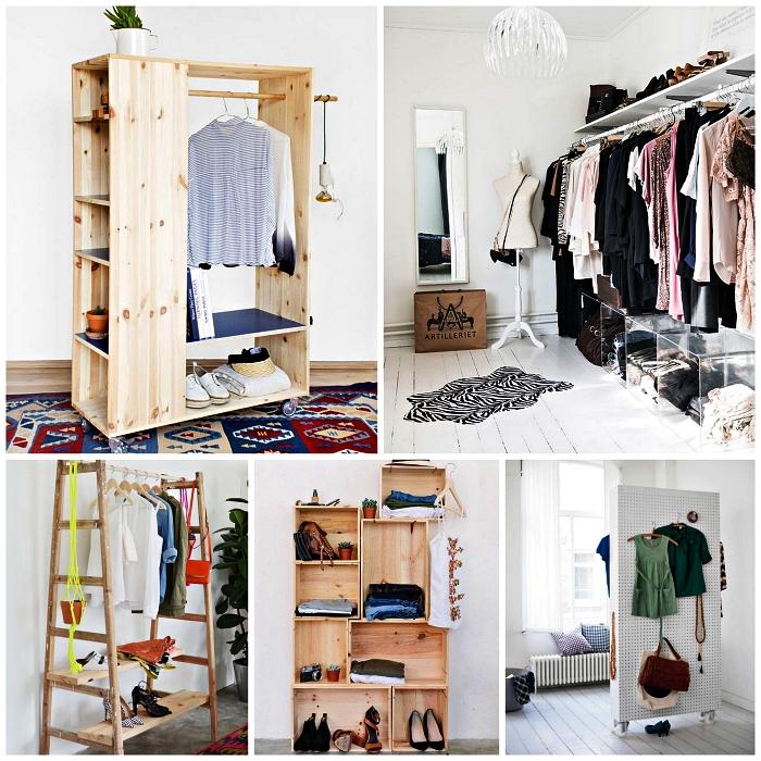 idées pour fabriquer son dressing minimaliste, meuble dressing en bois à faire soi-même, échelle détournée en portant à vêtement