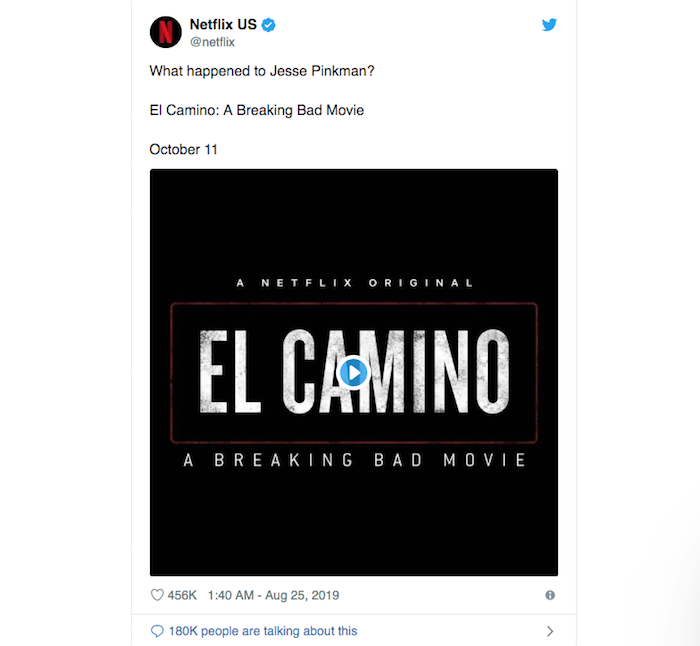 El Camino, le film issu de la série AMC Breaking Bad, dont la bande annonce a été dévoilée par Netflix, sortira le 11 octobre