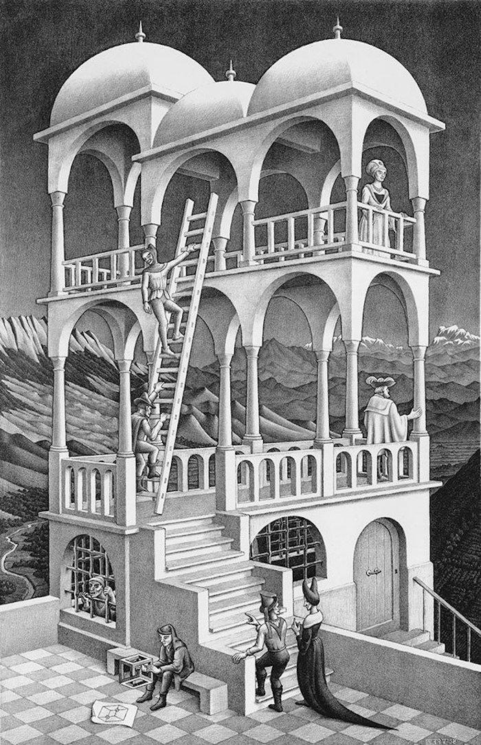 Illusion optique Escher dessin noir et blanc crayon, dessin au crayon, comment bien dessiner style hyper realiste