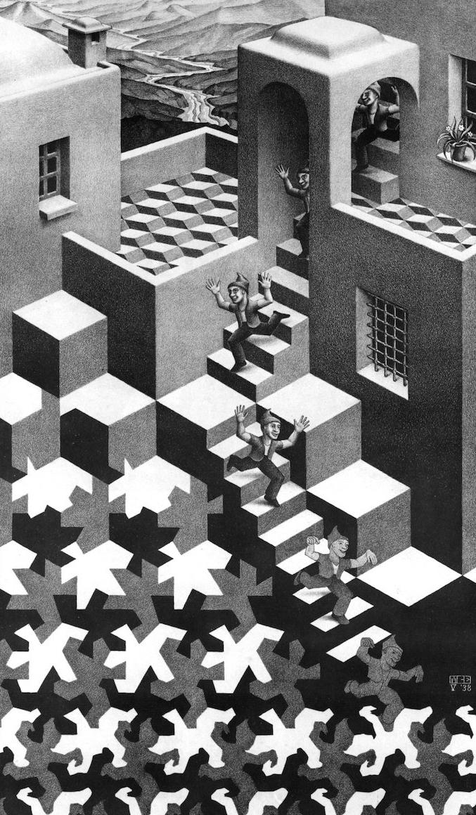 Comment bien dessiner, dessin lithographie Escher perspective, dessin noir et blanc illusion optique Escher art