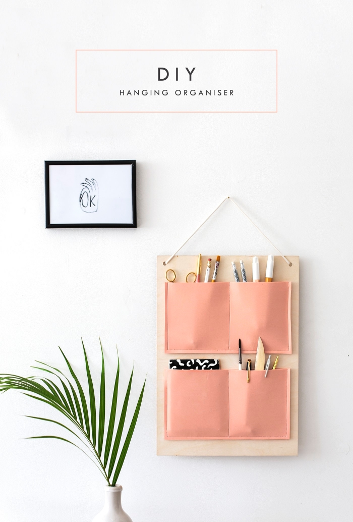 activité manuelle facile et rapide, comment faire une suspension murale pour accessoire bureau, modèle organisateur de bureau DIY