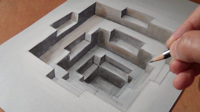 Dessin 3d crayon noir sur papier blanc, apprendre a dessiner en perspective, dessin au crayon claire obscure