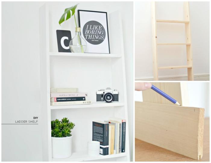diy étagère originale pour bureau, exemple comment customiser une échelle bois pour en faire une étagère rangement